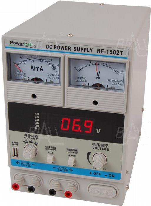 Zdjęcie produktu: Zasilacz serwisowy 1502T 15V/2A DC LED PowerLab