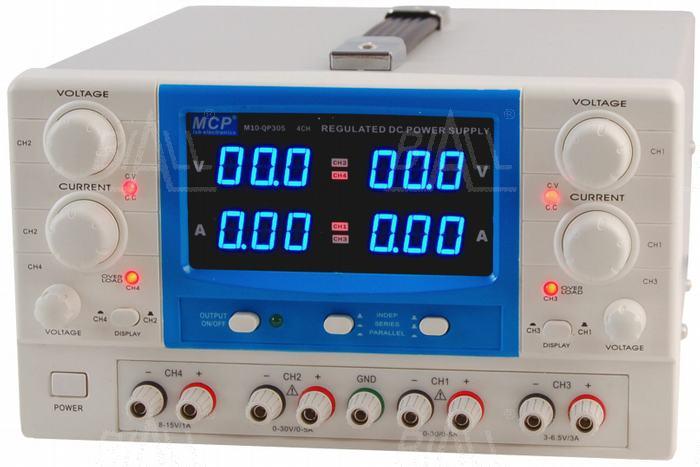 Zdjęcie produktu: Zasilacz lab QP305E 2x30V/5A 6,5V/3A 15V/1A DC do pracy ciągłej MCP