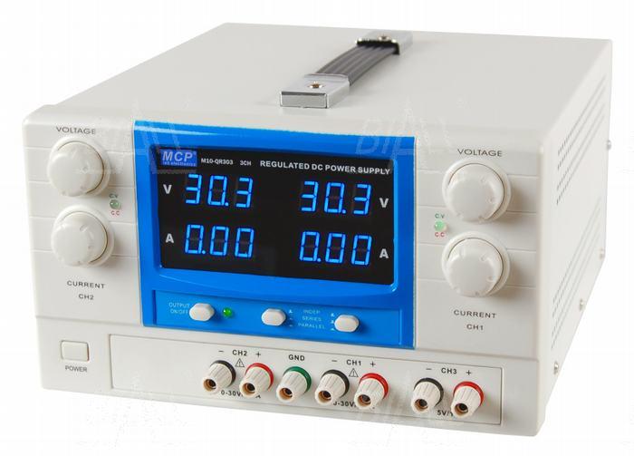 Zdjęcie produktu: Zasilacz lab QR303 2x30V/3A 5V/1A DC do pracy ciągłej MCP